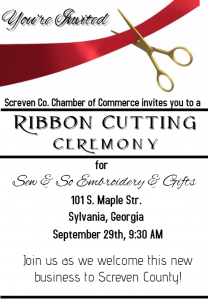 Ribbon Cutting - Sew & So Embroidery & Gifts @ Sew and So Embroidery & Gifts | Sylvania | Georgia | United States