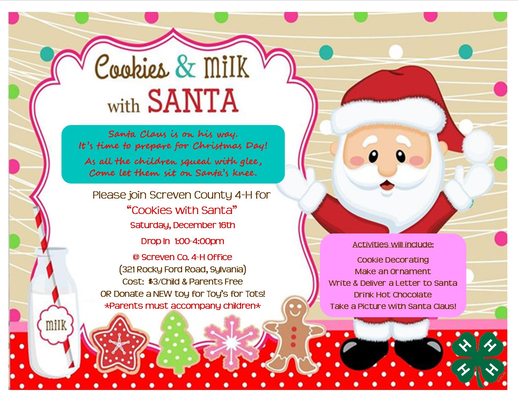 4h Cookies With Santa Promotional Flyer Screven County Chamber Of