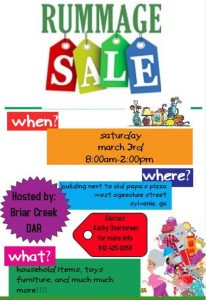 Briar Creek DAR Rummage Sale